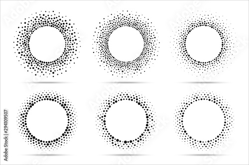 Fototapety, obrazy: Halftone vector circular dotted frames set. Circle dots isolated on the white background. Logo design element for medical, treatment, cosmetic. Round border using halftone circle dots texture.