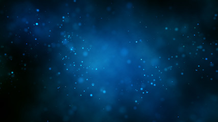 Abstract bright glitter blue background out of focus.3 d render.