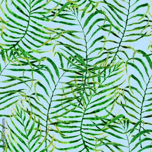 Wall Murals Tropical Leaves Tropical seamless pattern. Watercolor tangled palm