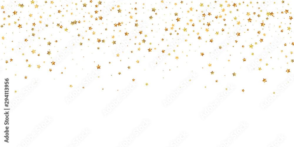 Fototapeta Gold stars random luxury sparkling confetti. Scatt