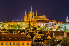 Night View Of Prague Castle, The Largest Coherent Castle Complex In The World,   On Vltava River In Prague, Czech.