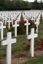 White Cross In A Military Cemetery In Verdun, France