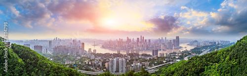 Obraz Sunset cityscape and skyline in Chongqing - fototapety do salonu