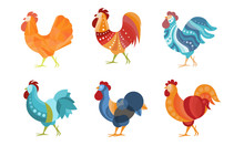 Set Of Roosters With Creative Coloring. Vector Illustration.