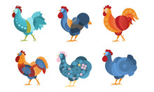 Set Of Roosters With Creative Pattern. Vector Illustration.