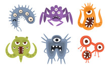 Set Of Germs With Eyes And Paw...