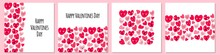 Cute Set Of Childish Backgrounds With Funny Kawaii Cartoon Characters Of Hearts