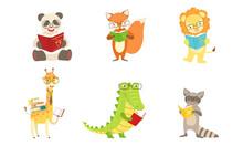 Different Humanized Animals Read Books. Vector Illustration.