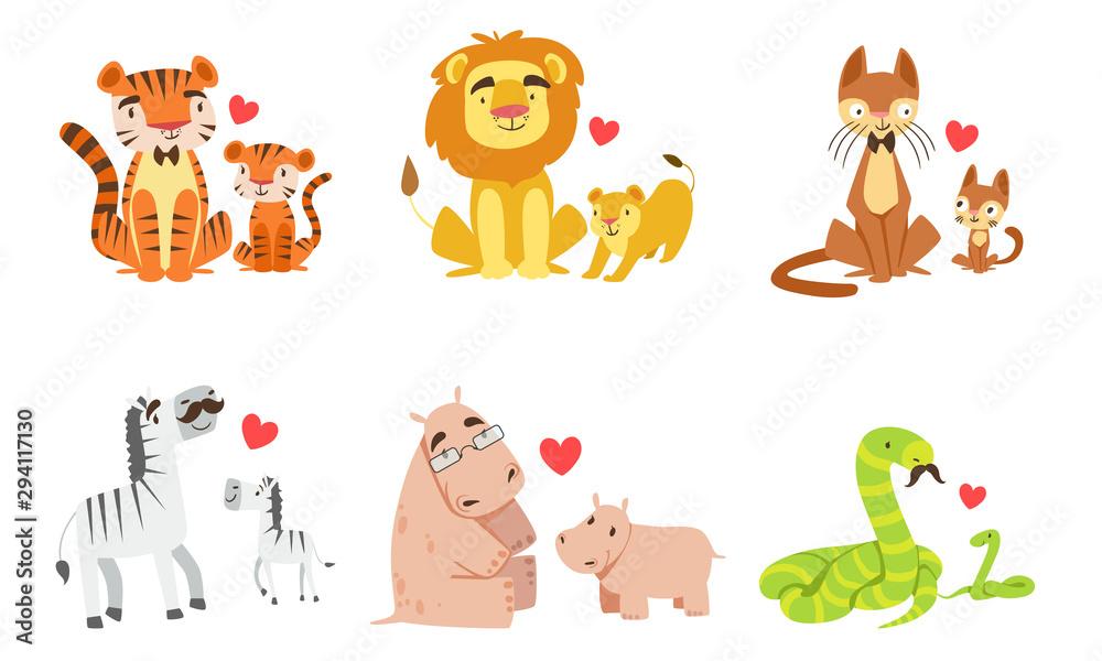 Fototapeta Cartoon animals couple dad and baby. Vector illustration.