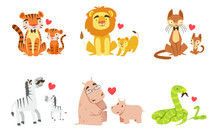 Cartoon Animals Couple Dad And...
