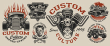 Set Of Vintage Hot Rod Designs...