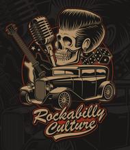 Vector Illustration Of A Skull  In Rockabilly Style.