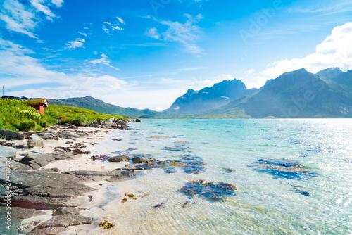 Fotografie, Obraz beautiful sand beach on the lofoten islands in Norway