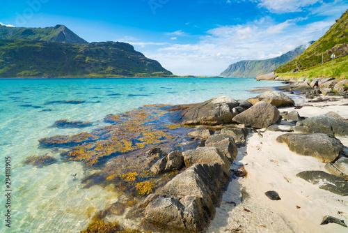 Obraz na plátně beautiful sand beach on the lofoten islands in Norway