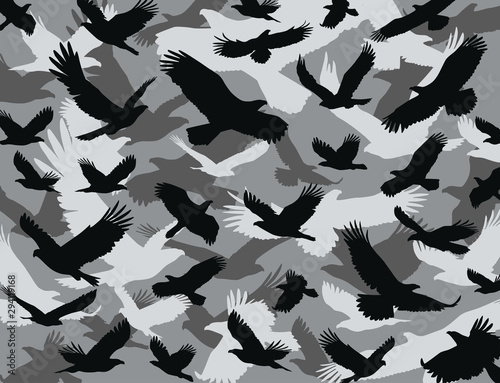 Eagle camouflage military pattern Wallpaper Mural