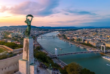 Budapest Cityscapes Form Gellert Hill. Amazing Sunset In The Background. Included The Danube River, Historical Bridges, Budapest Dwontown,