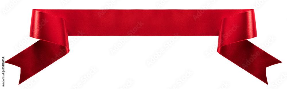 Fototapeta Satin ribbon banner on white