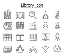 Library Icon Set In Thin Line ...