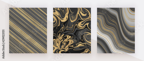 Photo Black and golden glitter ink painting liquid marble texture