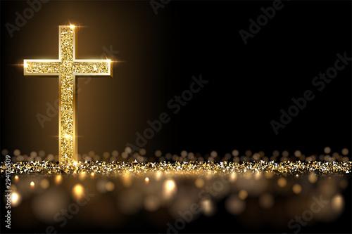 Fényképezés Gold prayer cross realistic vector illustration