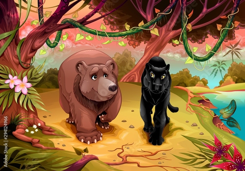 Bear and black panther walking together in the forest