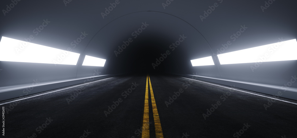 Fototapeta Sci Fi Futuristic Asphalt Tunnel Corridor White Windows Glow Garage Cement Road Double Lined Concrete Walls Underground Dark Night Car Show Neon Glowing Arc Stage Showroom 3D Rendering