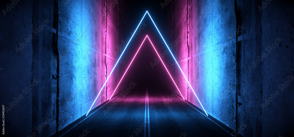 Fototapeta Sci Fi Futuristic Asphalt Cement Road Double Lined Concrete Walls Underground Dark Night Car Show Neon Laser Triangles Glowing Purple Blue Arc Virtual Stage Showroom 3D Rendering
