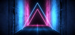 Sci Fi Futuristic Asphalt Cement Road Double Lined Concrete Walls Underground Dark Night Car Show Neon Laser Triangles Glowing Purple Blue Arc Virtual Stage Showroom 3D Rendering