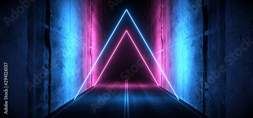 Obraz Sci Fi Futuristic Asphalt Cement Road Double Lined Concrete Walls Underground Dark Night Car Show Neon Laser Triangles Glowing Purple Blue Arc Virtual Stage Showroom 3D Rendering - fototapety do salonu