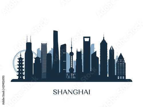 Photo Shanghai skyline, monochrome silhouette. Vector illustration.