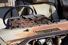 Dashboard Of Wrecked Car