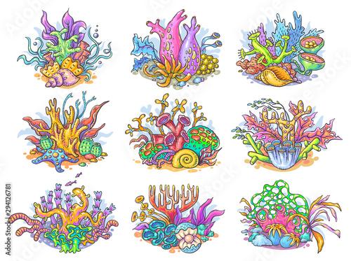 Zestaw kolorowych koralowców, życia morskiego i oceanicznego