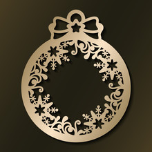 Laser Cut Template Of Christmas Ball With Snowflakes And Pattern. Xmas Tree Decoration For Paper Cut Out. Silhouette Of Openwork Frame With Lace Ornament. Golden Vector Illustration On Background.