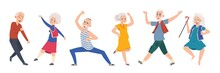Old Dancing People. Cartoon Ha...