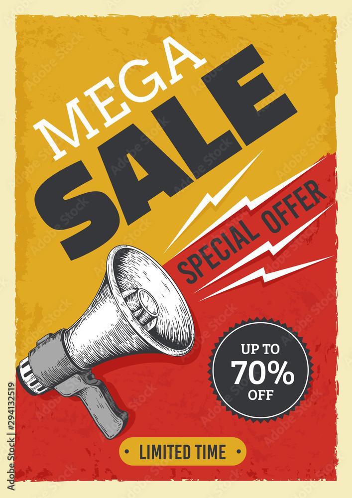 Fototapeta Sale megaphone poster. Vintage bullhorn with sale banner, news and ads grunge flyer concept. Vector illustration alert and attention concept announcements market price discount billboard