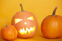 Halloween Pumpkins Isolated Ov...