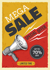 Obraz na SzkleSale megaphone poster. Vintage bullhorn with sale banner, news and ads grunge flyer concept. Vector illustration alert and attention concept announcements market price discount billboard