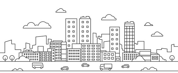 Line city landscape. Urban cityscape with skyscrapers, buildings, street, park and cars, modern linear background. Vector illustration sketch art silhouette downtown with graphic scene environment