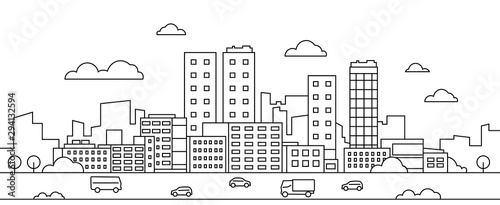 Line city landscape. Urban cityscape with skyscrapers, buildings, street, park and cars, modern linear background. Vector illustration sketch art silhouette downtown with graphic scene environment #294132594