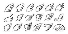 Doodle Wings. Cartoon Bird Fea...