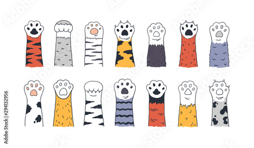 obraz lub plakat Cat paws. Doodle animal foot, cute cartoon kitten and puppy paws, wild and domestic animals foots. Vector drawing kitty and dog different breed pet set on white background