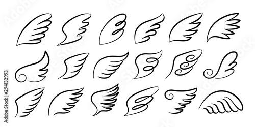 Doodle wings Fototapeta