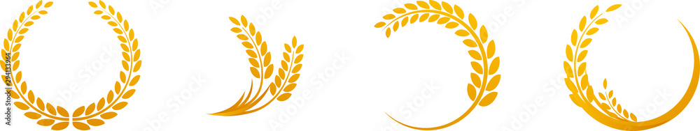 Fototapety, obrazy: Wheat ears or rice icons set. Agricultural symbols isolated on white background. Design elements for bread packaging or beer label. Vector illustration.