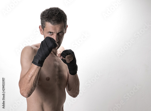 Photo  Muay thai or kickbox fighter in various postures