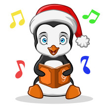 A Vector Of A Penguin Singing Song From A Book Isolated On White Background.