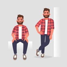 Set Of Character Man In Two Poses. The Guy Is Sitting And He Leaning On The Wall. Vector Illustration