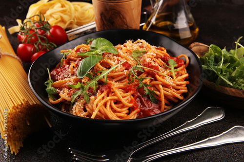 Plate of delicious spaghetti Bolognaise or Bolognese with savory minced beef and Obraz na płótnie