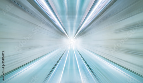 Black and white blurry speed motion in highway tunnel with light flare for futuristic network connection technology, digital data in computer Fototapet