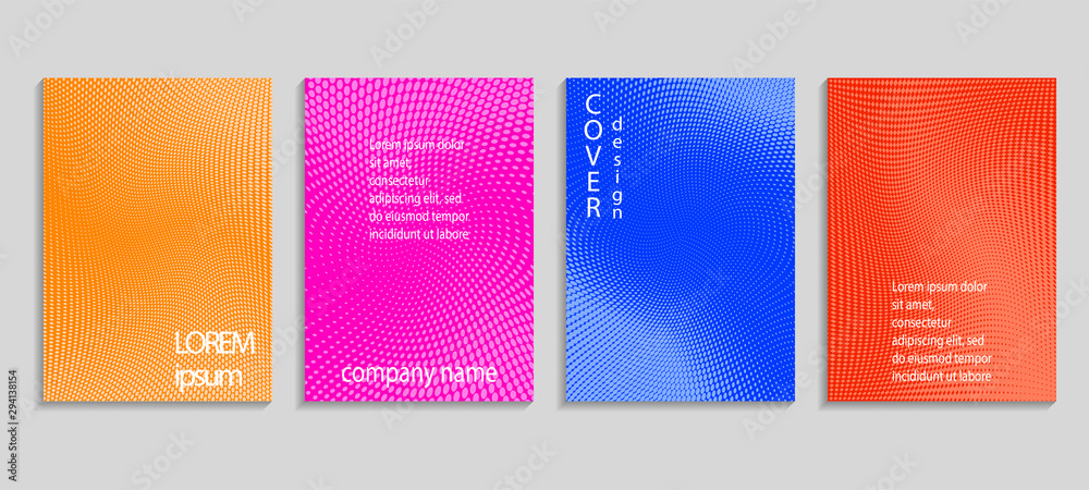 Fototapeta Minimal abstract vector halftone cover design template. Future geometric gradient background. Vector templates for placards, banners, flyers, presentations and reports