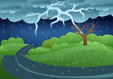 Thunderstorm Storm Concept Banner. Cartoon Illustration Of Thunderstorm Storm Vector Concept Banner For Web Design